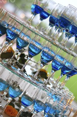 blue champagne glasses
