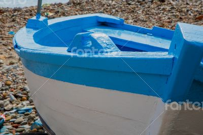 Fresh painted fisherman`s boat. Front view
