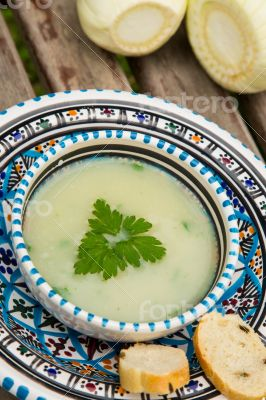 Fennel cream soup in the traditional tunisian plate