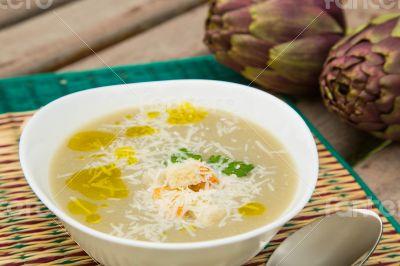 A plate of artichoke cream soup