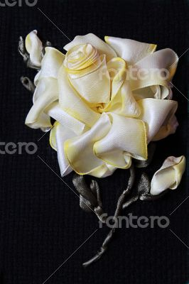 Handmade yellow rose from ribbon