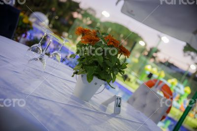 Romantic table in restaurant reservations
