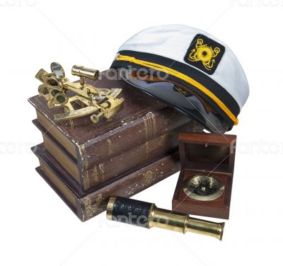 Boating Books Captain Hat Sextant Telescope