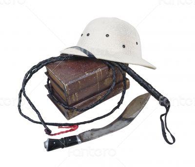 Exploration Adventure Books Pith Helmet Whip Dagger