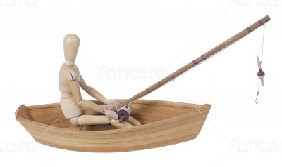 Fishing from a Wooden Boat with Rod and Reel