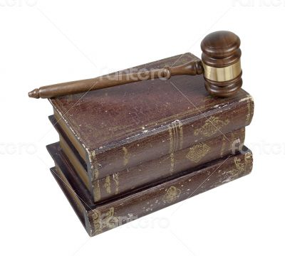 Gavel and Volumes of Law Books