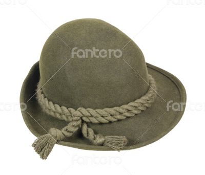 Green Wool Hat with Braided Rope on Brim