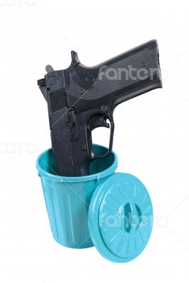 Handgun in a Garbage Container