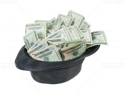 Black Leather Fedora Hat Full of Money