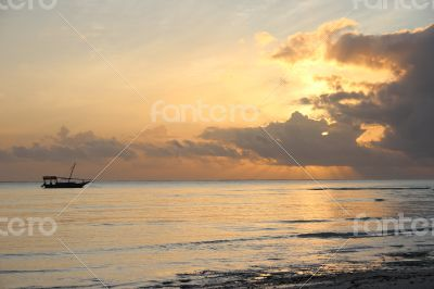 Sunrise at Nungwi Beach and Boats