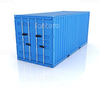 Bright blue metal freight shipping container on white background