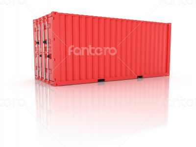 Bright red metal freight shipping container on white