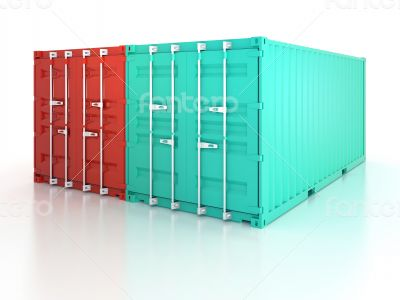 Bright red and blue metal freight shipping containers on white b