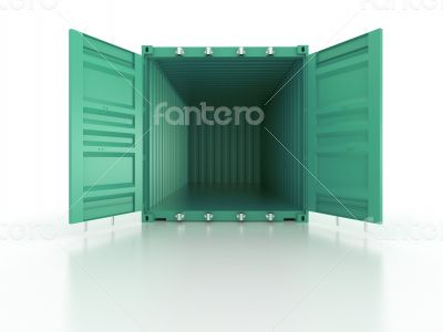 Bright green metal open freight shipping containers on white bac