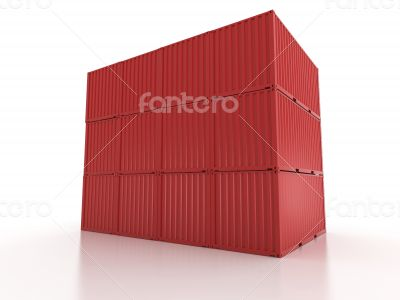 red metal freight shipping containers wall on white background