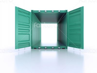 Bright green open empty metal shipping container on white backgr