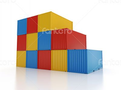 stacked shipping containers on white background