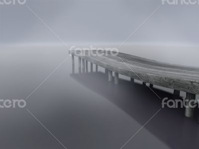 Lake dock ,wooden Pier into the fog