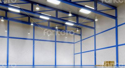 Interior of a empty warehouse with colour construction