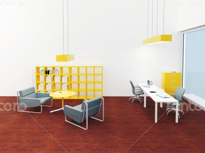 Interior of bright small modern office