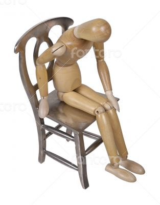 Person Slumped Down on Metal Chair