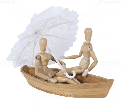 Sitting in a Boat Holding a Lace Umbrella