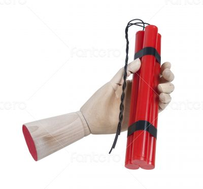 Wooden Hand Holding Dynamite