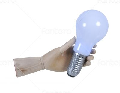 Wooden Hand Holding Lightbulb