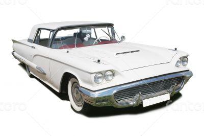 white ancient American car