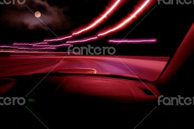 High-speed driving on the car at night