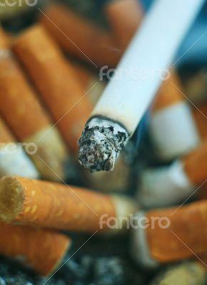 Smoking cigarette and stubs