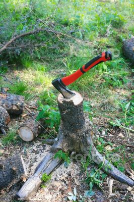 Axe cutting fire wood on  stub