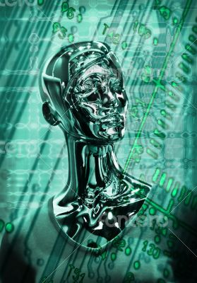 dummy on  digital background