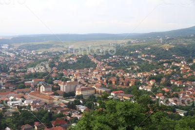 Panorama of the Romanian city bird`s-eye view.