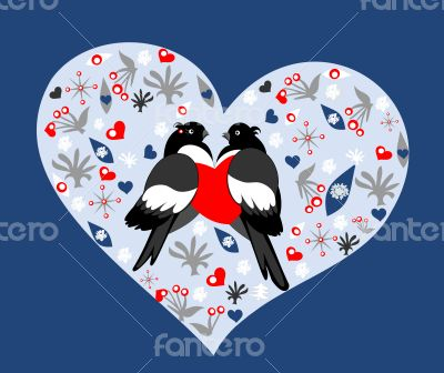 Holiday card with bullfinches in love