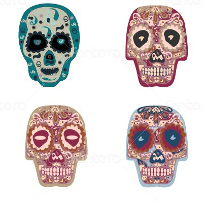 Collection of beautiful colored skulls background