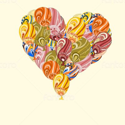 Huge heart made of colorful air balloons