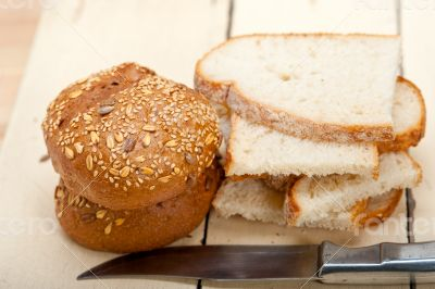 organic bread over rustic table