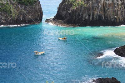 Two boats at the sea, Fernando de Noronha, Brazil