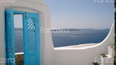 Blue gate in Santorini