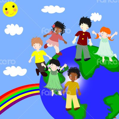 Children of different races on a green planet