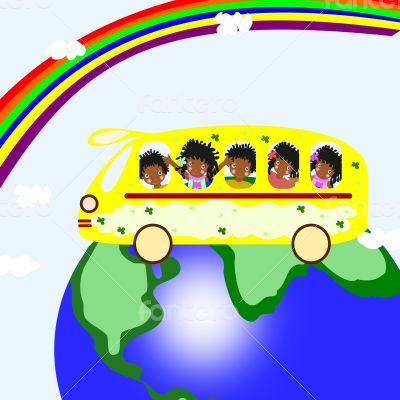 African children riding on a school bus