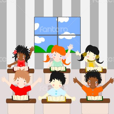 Children of different races learn in the school
