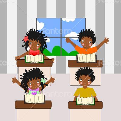 African children go to school room