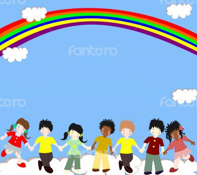 Children of different races are in the clouds