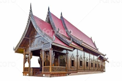 Chapel of Thai temple on white background