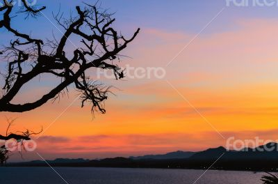 Sunset over the sea on mountain