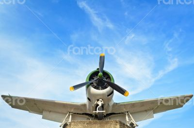 Fighter aircraft in world war 2 on sky background