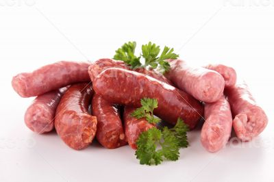isolated raw sausages