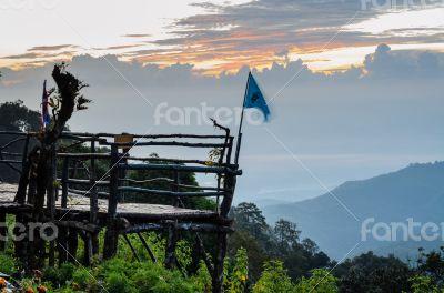 Podium for natural view on viewpoint Doi Ang Khang mountains